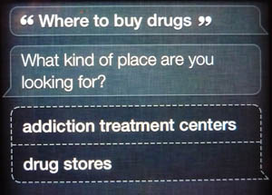 where to buy drugs, Siri?