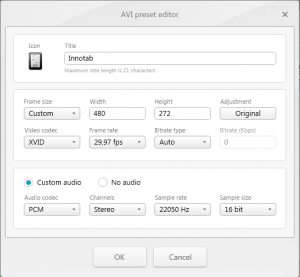 Freemake Video Converter: custom preset