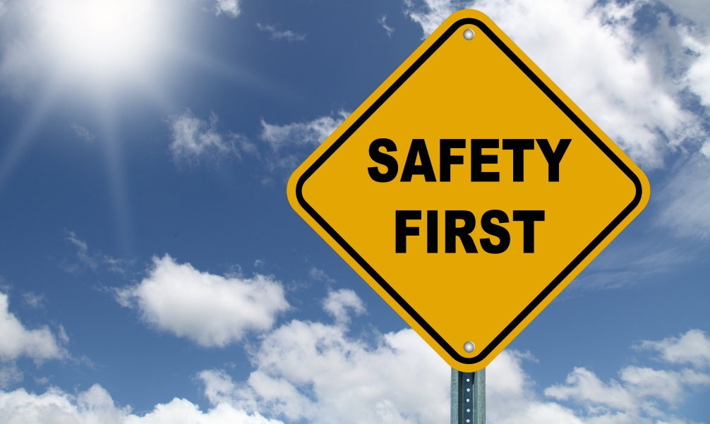 safety yellow sign stock image
