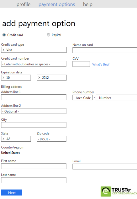 Microsoft account payment options