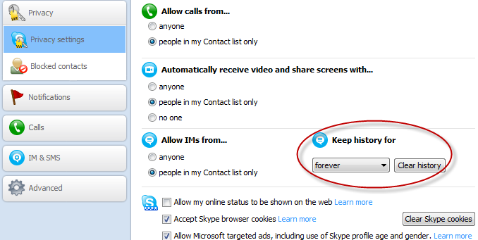 Clear history in Skype