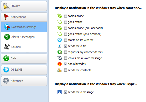 Hide notifications in Skype