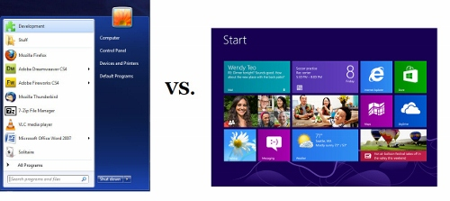 Start menu in Windows 8