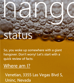 Hangover Helper App for Windows Phone 7, 8