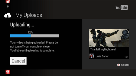 YouTube upload Xbox One