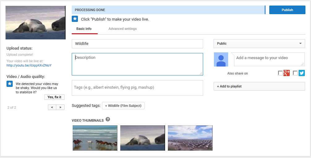 YouTube upload web interface