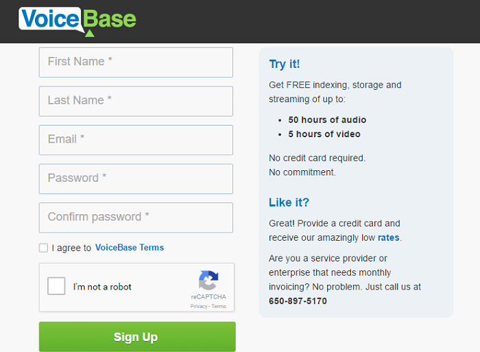 VoiceBase account sign up