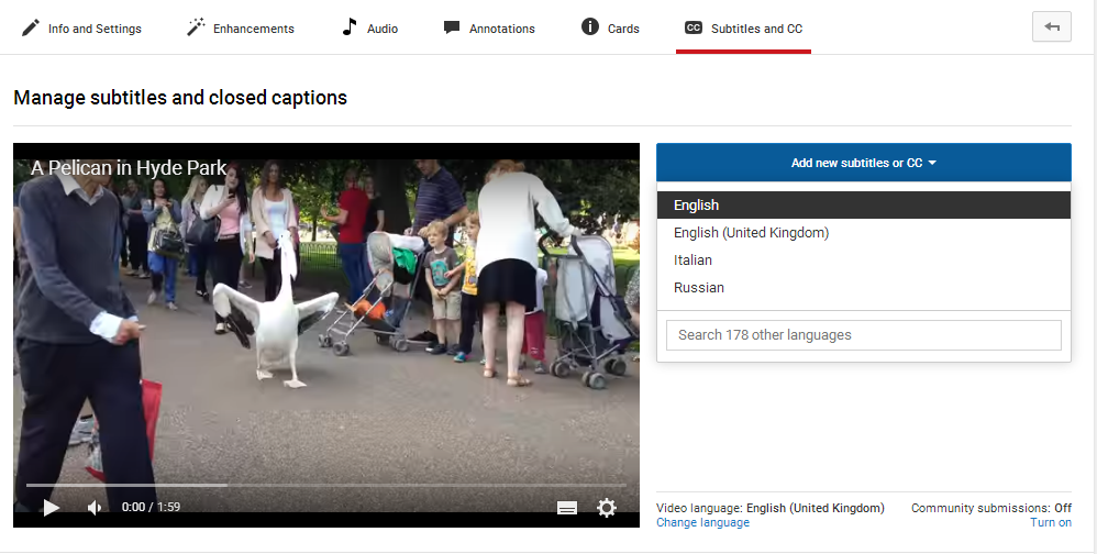 youtube subtitles language
