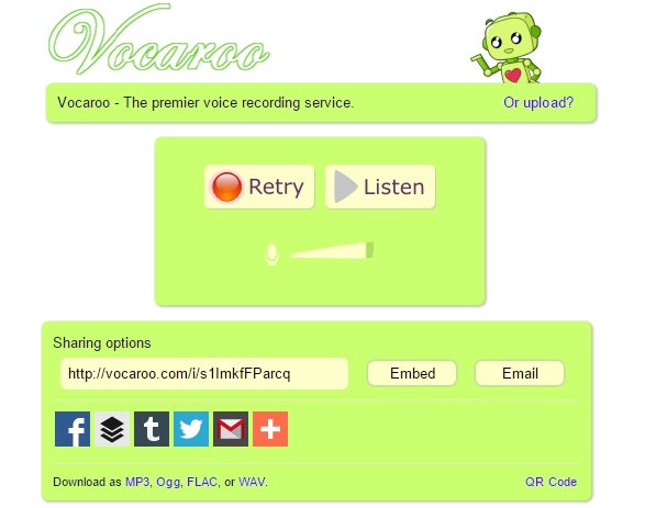 Vocaroo online voice recorder