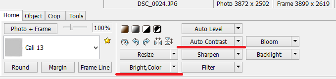 PhotoScape Color and Bright option settings