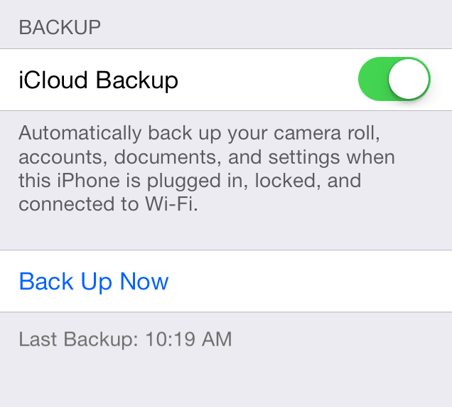 How to backup to icloud from iphone 5s 2014