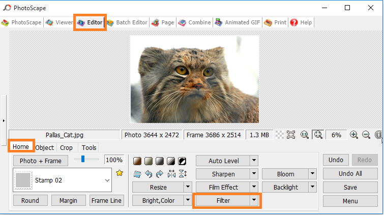 PhotoScape Editor Filters option