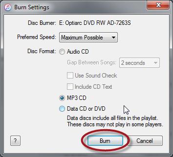 iTunes CD burning settings