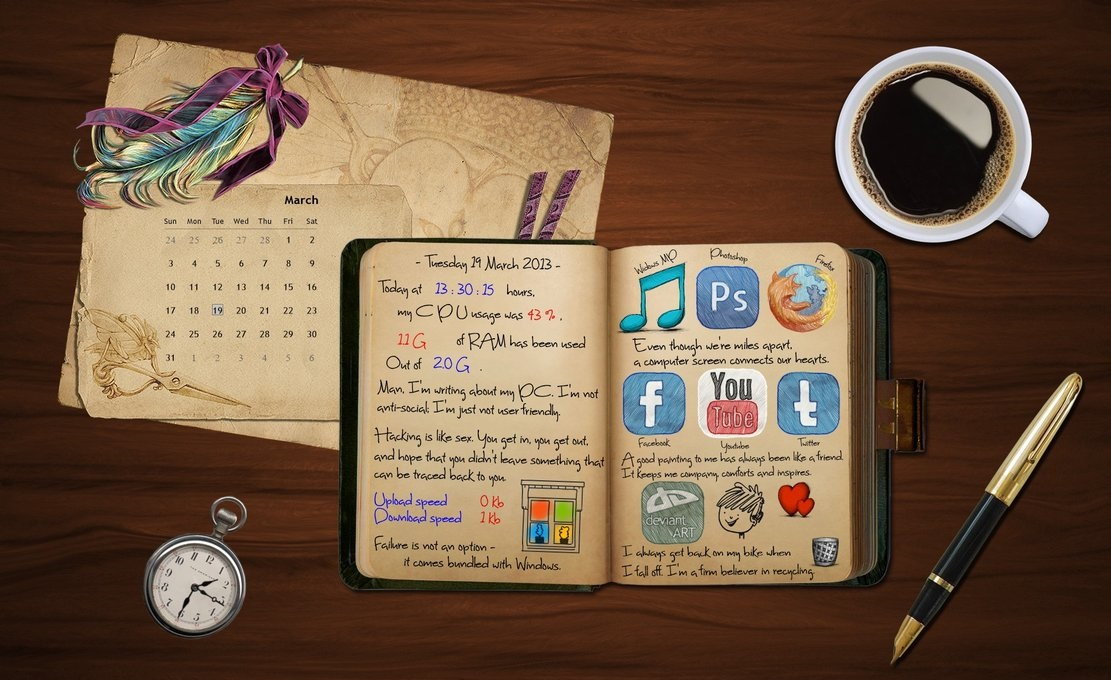 digital diary interface