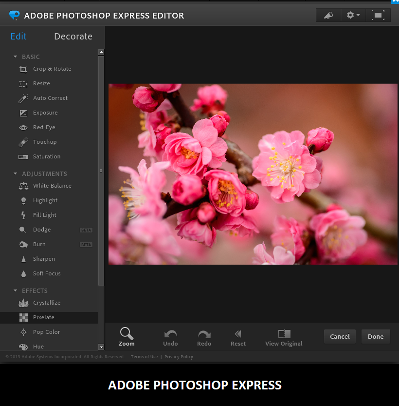 Online Adobe PhotoShop Express