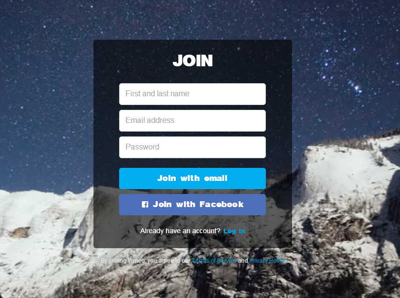 vimeo sign up