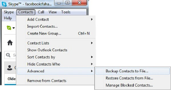 backup skype contacts