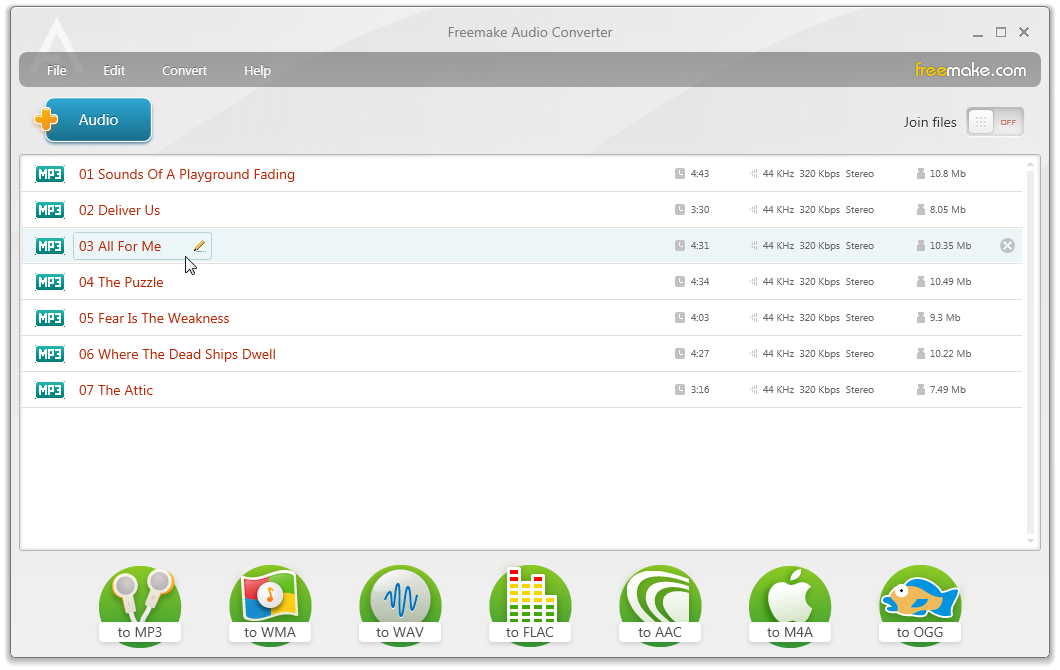 Freemake Audio Converter freeware screenshot